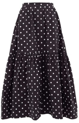 STAUD Tiered Polka-dot Cotton-blend Skirt - Womens - White Black