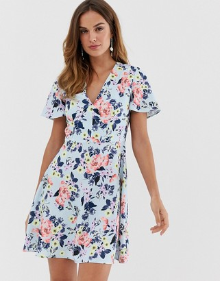 French Connection Armoise floral flippy mini dress-Blue
