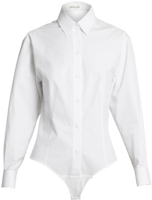 Alaia Cotton Poplin Blouse Bodysuit