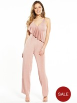 Miss Selfridge Petite Slinky Ruffle Jumpsuit - Available From Size 4 - 14