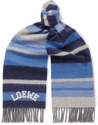 Loewe Logo-Appliqued Striped Wool Scarf - Men - Blue