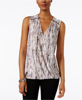 INC International Concepts Printed Surplice Blouse, Only at Macy's