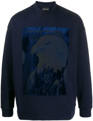 Emporio Armani glittery-eagle print sweatshirt