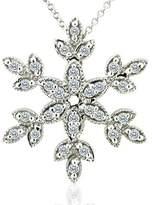 PPLuxury 0.30CT Diamond 14K White Gold Snowflake Pendant Necklace