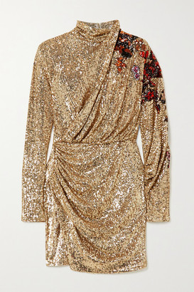 Redemption Draped Sequined Tulle Turtleneck Mini Dress - Gold