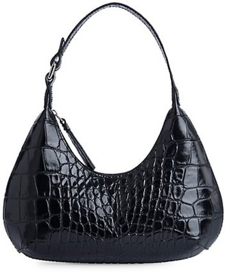 BY FAR Baby Amber Croc-Embossed Leather Shoulder Bag
