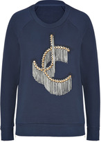Juicy Couture Regal Blue JC Fringe Embroidered Pullover