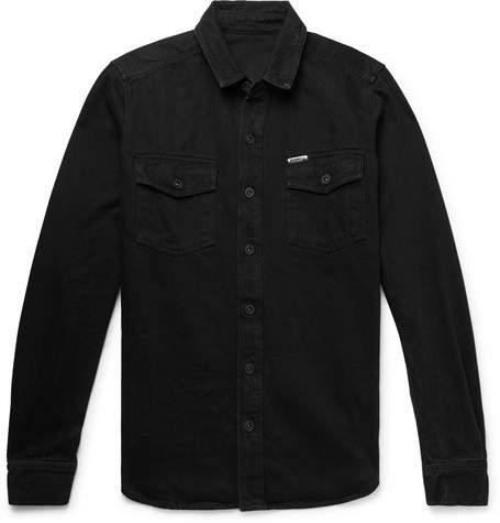 Off-White Off White Logo-Print Denim Shirt - Men - Black
