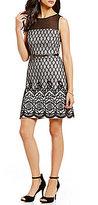 Jessica Simpson Round Neck Sleeveless Illusion Bonded Scalloped Lace Dress