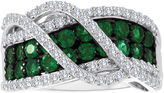 JCPenney FINE JEWELRY Lab-Created Emerald and White Sapphire Sterling Silver Crossover Ring