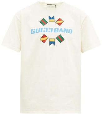 Gucci Logo-print Flag-embroidered Cotton T-shirt - Mens - White