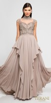 Terani Couture Cascading Chiffon Rhinestone Embellished Evening Dress