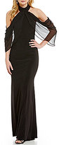 Xscape Evenings Halter Neck Ruffled Front Cold Shoulder Gown