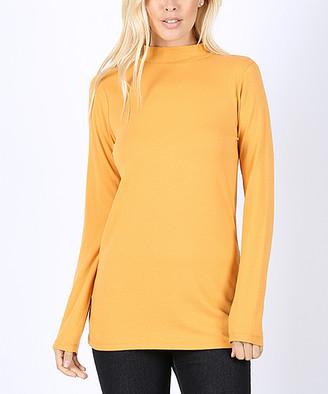 Ash Lydiane Women's Tee Shirts  Mustard Long-Sleeve Mock Neck Top - Women
