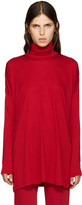 MM6 MAISON MARGIELA Red Oversized Jersey Turtleneck
