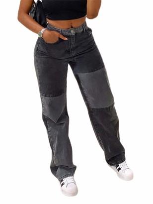 N /C Womens Patchwork Straight Jeans A-Line High Waist Denim Boyfriend Trouser Pants Vintage Pencil Trousers (Black Grey S)
