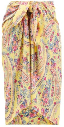 Etro Paisley-print Georgette Sarong - Yellow Multi