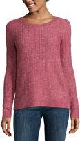 Liz Claiborne Long-Sleeve Crewneck Sweater with Lurex