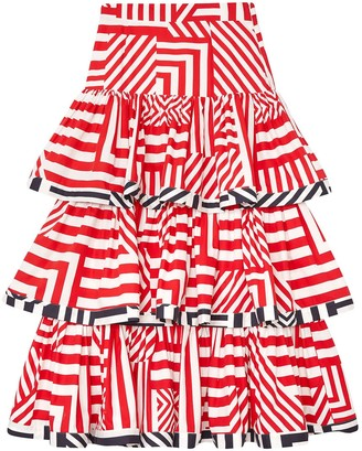 Siobhan Molloy Tiered Geometric Print Cotton-Poplin Maxi Skirt