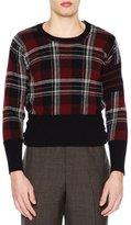 Thom Browne Tartan Plaid Crewneck Sweater, Navy