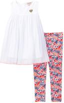 Juicy Couture Eyelet Top Tunic & Floral Print Legging Set (Toddler Girls)