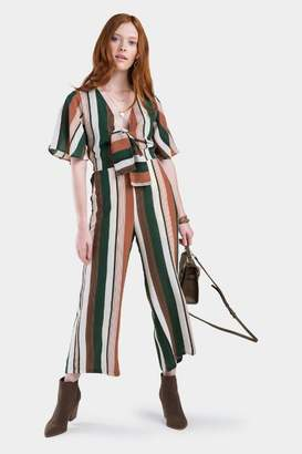 francesca's Crislin Stripe Front Knot Jumpsuit - Hunter Green