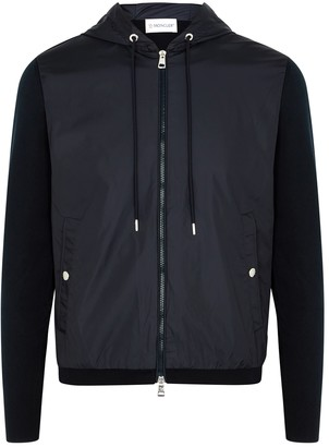 Moncler Navy Knitted Cotton And Shell Jacket