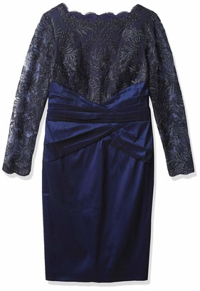 Tadashi Shoji Women's L/S Dress W/LACE Bodice and Taffeta Skirt