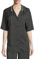 Alexander Wang Striped Short-Sleeve Pajama Shirt
