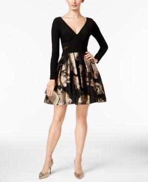 Xscape Evenings V-Neck Brocade Illusion Dress