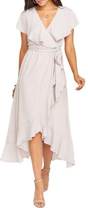 Show Me Your Mumu Adele Ruffle Chiffon Wrap Dress