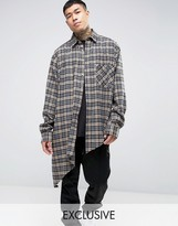 Reclaimed Vintage Inspired Oversized Flannel Shirt With Asymmetrical Raw Hem