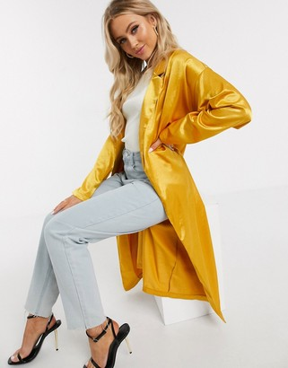 In The Style satin duster jacket in yellow