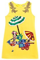 Dolce & Gabbana Yellow Beach Scene Dress