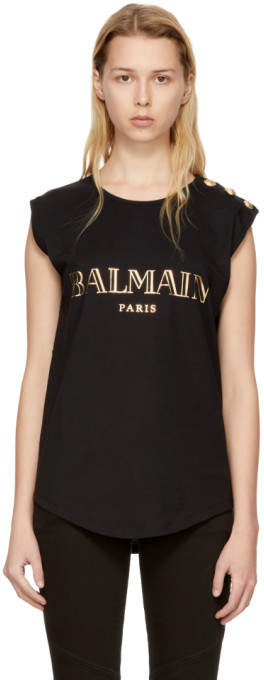 Balmain Black Sleeveless Logo T-Shirt