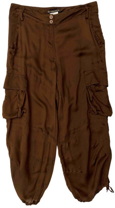 Plein Sud Jeans Brown Silk Trousers
