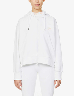 adidas by Stella McCartney Cropped organic-cotton and recycled-polyester blend hoody