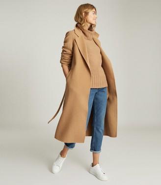Reiss Leah - Wool Blend Longline Overcoat in Camel