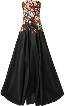 Carolina Herrera Floral-Embellished Strapless Gown
