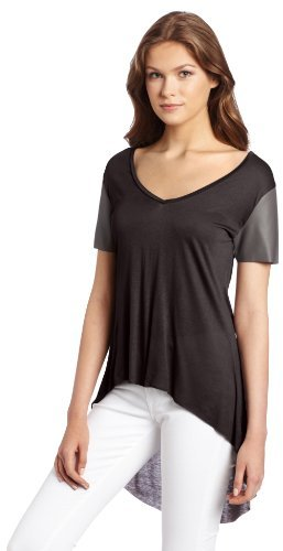 BCBGeneration Women's Short Sleeve Top with Faux Leather Sleeves