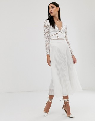 Parallel Lines pleated chiffon midi skirt in white