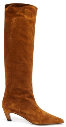 KHAITE Davis Square-toe Suede Knee-high Boots - Tan