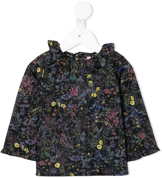 Bonpoint ruffled neck floral print blouse
