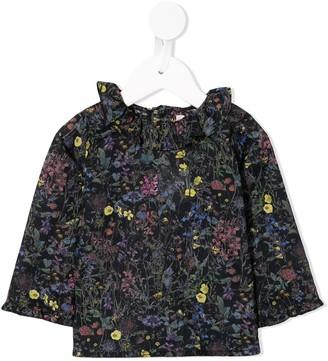 Bonpoint Ruffled Neck Floral Print Blouse