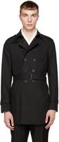 Burberry Black Camo Collar Trench Coat