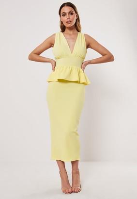 Missguided Lemon Sleeveless Deep Plunge Peplum Midi Dress