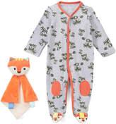 Taggies Gray Heather Fox Knee-Patch Footie & Orange Fox Lovey - Infant