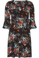 Dorothy Perkins Womens Black Floral Wrap Fit & Flare Dress- Black