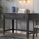 Willman Solid Wood Writing Desk Bay Isle Home Base Color: Antique Black, Top Color: Caribbean Rum