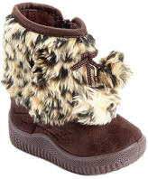 Brown & Beige Leopard Pom-Pom Boot